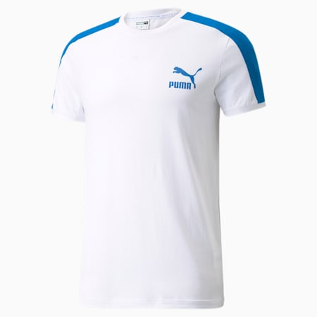 Iconic T7 Men's Tee, Puma White-future blue, small-GBR