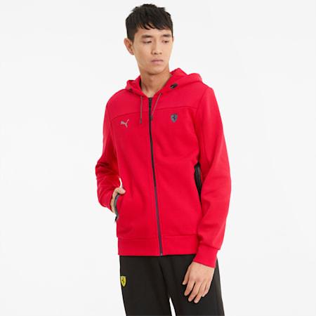 Scuderia Ferrari Style Hooded Men's Sweat Jacket, Rosso Corsa, small