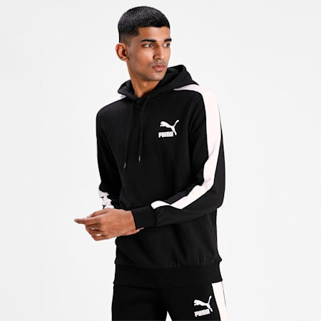 Iconic T7 Men's Hoodie, Puma Black, small-IND