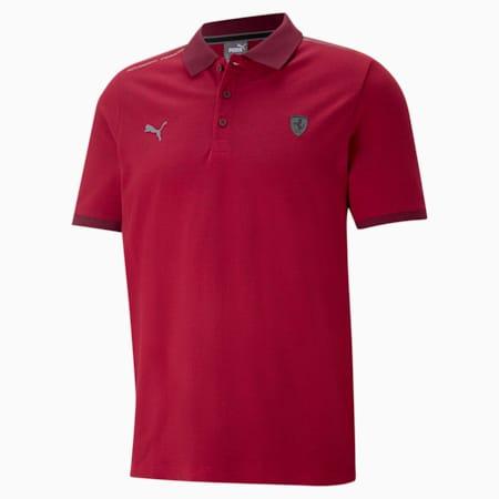 Scuderia Ferrari Style Two-Tone Men's Polo Shirt, Rosso Corsa, small-GBR