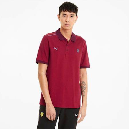 Scuderia Ferrari Style Two-Tone Men's Polo Shirt, Rosso Corsa, small
