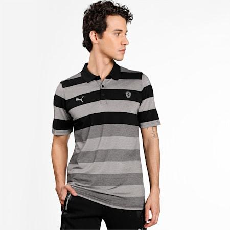 Scuderia Ferrari Striped Men's Polo Shirt, Puma Black, small-IND