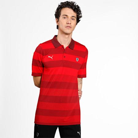 Scuderia Ferrari Striped Men's Polo Shirt, Rosso Corsa, small-IND