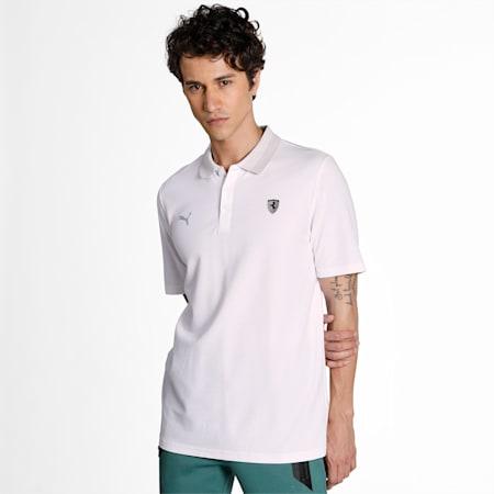 Scuderia Ferrari Style Gradient Men's Polo Shirt, Puma White, small-IND