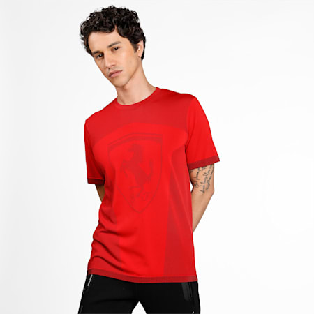 Scuderia Ferrari evoKNIT Big Shield Men's Tee, Rosso Corsa, small-IND