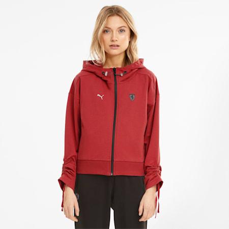 Scuderia Ferrari Style Hooded Women's Sweat Jacket, American Beauty, small
