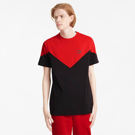 Iconic MCS Men's Tee, Puma Black-high risk red, small-IND