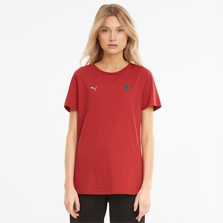 Damski T-shirt z logo Scuderia Ferrari Style, American Beauty, small