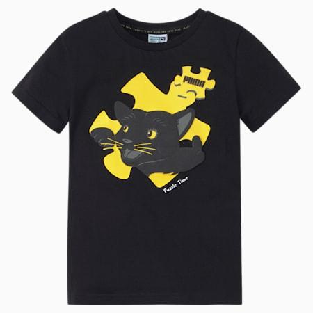 Paw Advanced Kids'  T-shirt, Puma Black, small-IND