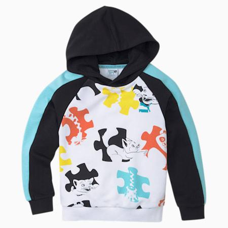 Paw T7 Printed Kids' Hoodie, Puma Black-Angel Blue, small-IND