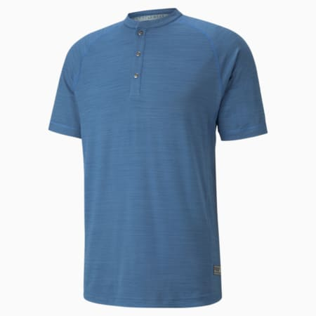 EGW CLOUDSPUN Mat Henley Golfpoloshirt für Herren, Federal Blue Heather, small