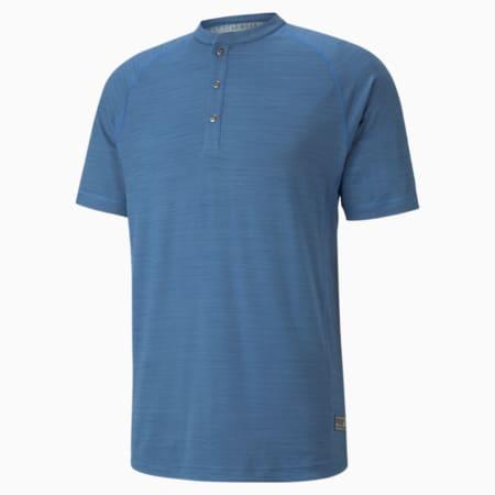 EGW CLOUDSPUN Mat Henley Men's Golf Polo Shirt, Federal Blue Heather, small-GBR