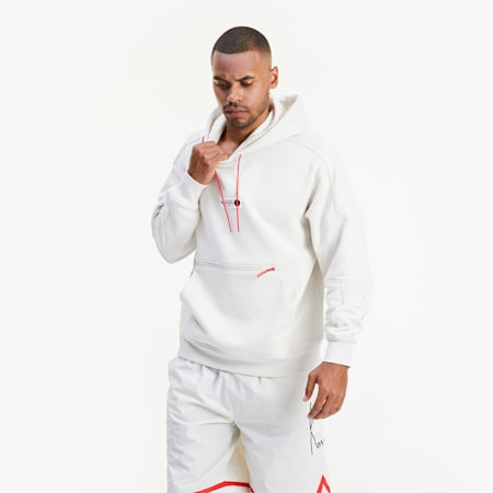 Sweat à capuche Parquet Basketball pour homme, Vaporous Gray, small