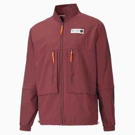 Parquet Warm Up Men's Basketball Jacket, Burgundy, small