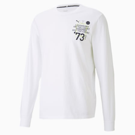 Parquet Graphic Long Sleeve Men's Basketball T-Shirt, Puma White, small-IND