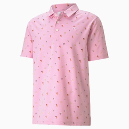 PUMA x ARNOLD PALMER Lemons Men's Golf Polo Shirt, Pale Pink, small