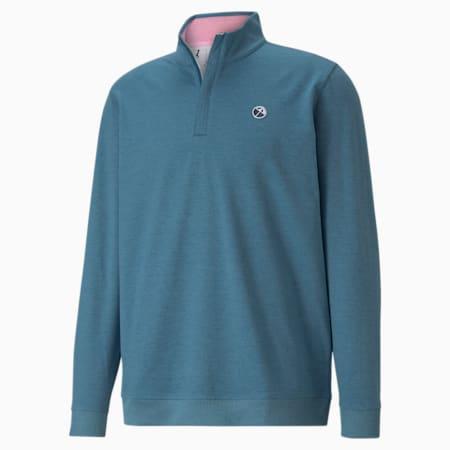 CLOUDSPUN Clubhouse Quarter-Zip Men's Golf Sweater, Legion Blue Heather, small