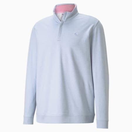 CLOUDSPUN Clubhouse Quarter-Zip Herren Golf Pullover, HALOGEN BLUE Heather, small