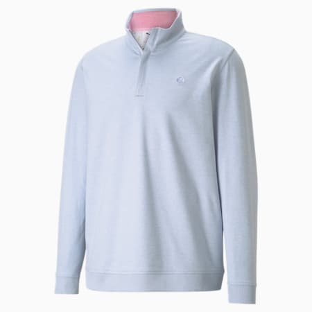 CLOUDSPUN Clubhouse Quarter-Zip Men's Golf Sweater, HALOGEN BLUE Heather, small