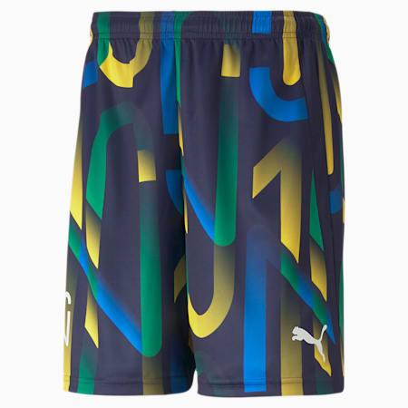 Neymar Jr Future Printed Men's Football Shorts, Peacoat-Dandelion, small-SEA