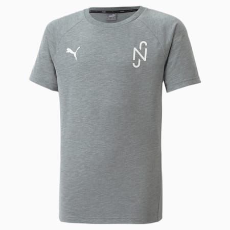 Neymar Jr. Evostripe Kid's T-Shirt, Medium Gray Heather, small-IND