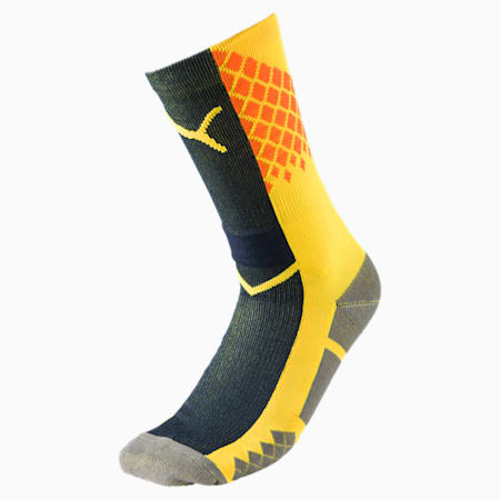 evoTRG Men's Football Socks, ULTRA YELLOW-Peacoat, small-IND