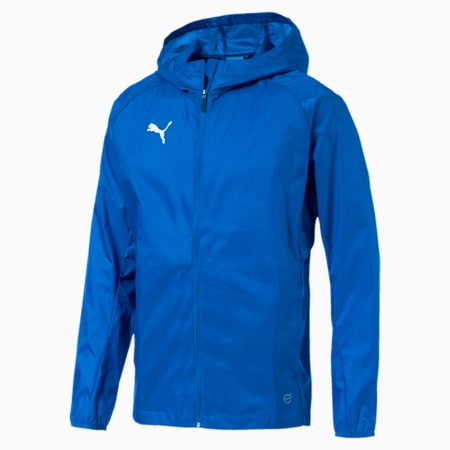 LIGA Training Hooded Men's Football Rain Jacket, Electric Blue, small-SEA