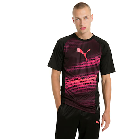 evoTRG Men's Graphic Football Training T-Shirt, Puma Black-Ebony-Fiery Coral, small-IND