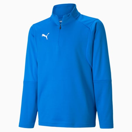 LIGA Quarter Zip Kids' Training Top, Electric Blue Lemonade, small