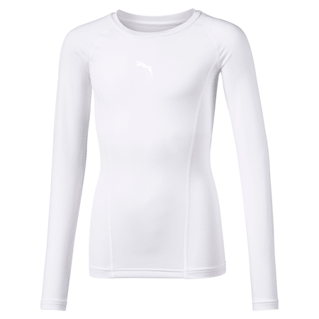 LIGA Baselayer Long Sleeve Kids' Tee, Puma White, small