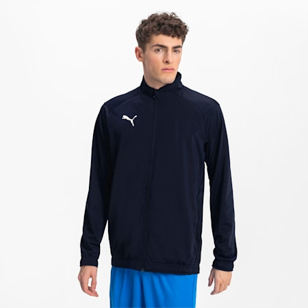 Football Men's LIGA Sideline Poly Core Jacket, Peacoat-Puma White, small