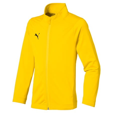Football Kids' LIGA Sideline Core Jacket, Cyber Yellow-Puma Black, small