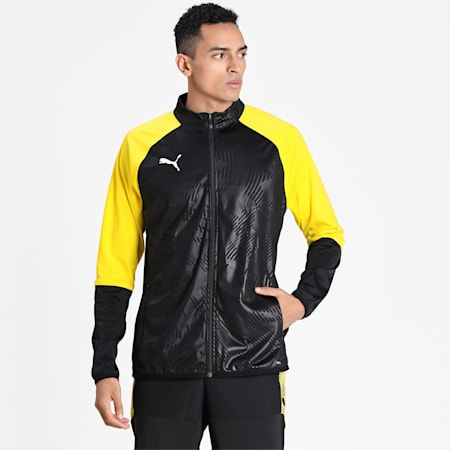 CUP Training Poly Core dryCELL Men's Football Training Jacket, Puma Black-Cyber Yellow, small-IND
