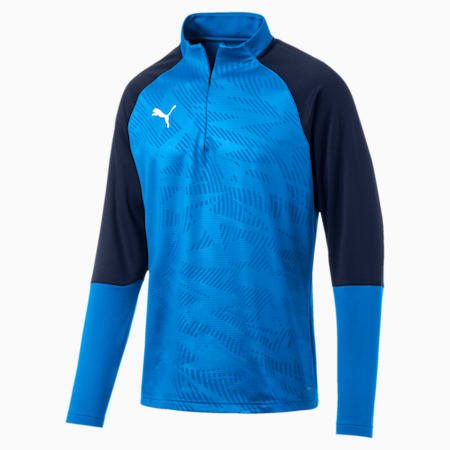 CUP Training Core 1/4 Zip Men's Football Top, Electr Blue Lemonade-Peacoat, small