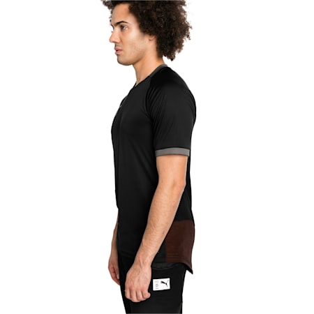 ftblNXT Pro Short Sleeve Men's Football Tee, Puma Black-Red Blast, small-IND