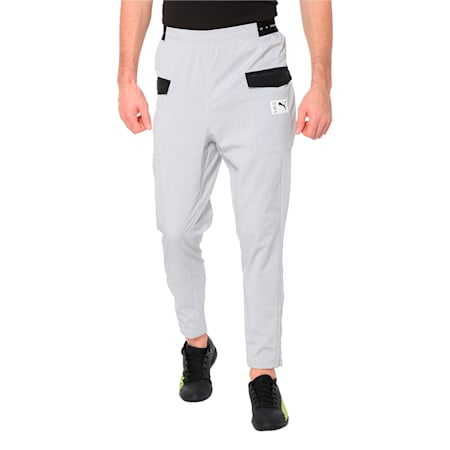 ftblNXT Casual Men's Football Pants, Light Gray Heather-Charcoal Gray, small-IND