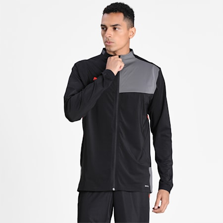 Men's Track Jacket, Puma Black-Nrgy Red, small-IND