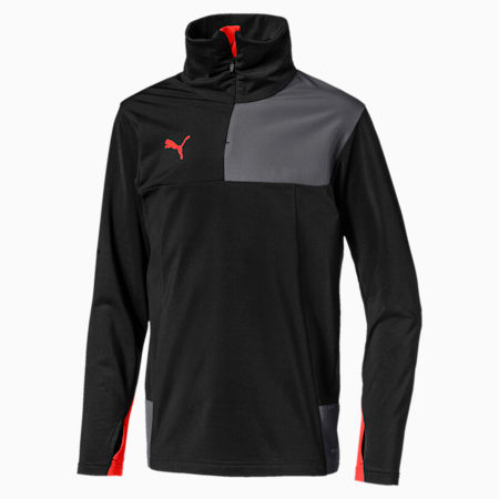Top ftblNXT Quarter Zip pour garçon, Puma Black-Nrgy Red, small