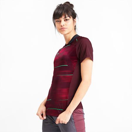 ftblNXT Graphic Women's Football Shirt, Vineyard Wine-Green Glimmer, small