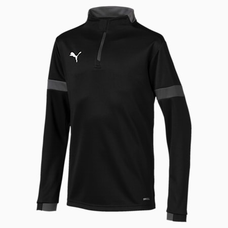 ftblPLAY Quarter Zip Kids' Top, Puma Black-Asphalt, small