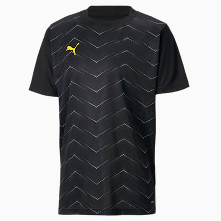ftblNXT Graphic Core Kinder T-Shirt, Puma Black-ULTRA YELLOW, small
