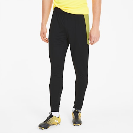 fbtlNXT Men's Soccer Pants, Puma Black-ULTRA YELLOW, small