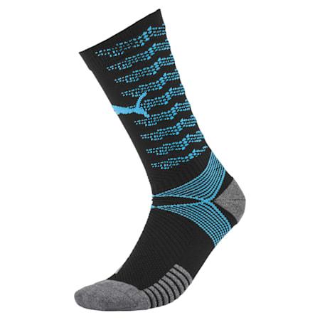 ftblNXT Team Men's Football Socks, Puma Black-Luminous Blue, small-IND