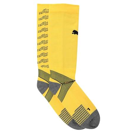 ftblNXT Team Men's Football Socks, ULTRA YELLOW-Puma Black, small-IND