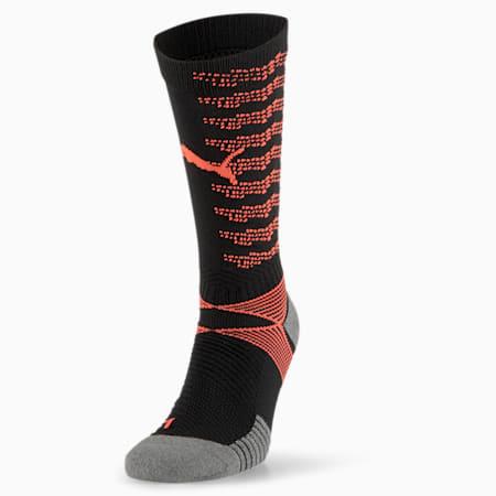 ftblNXT Team Men's Football Socks, Black-Fizzy Yellow- Peach, small-SEA