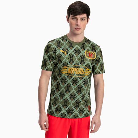 Męska piłkarska koszulka sportowa z krótkim rękawem Moskwa, Capulet Olive, small