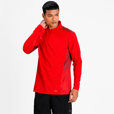 teamCUP Quarter-Zip Men's Football Top, Chili Pepper-Cordovan-Red Blast, small-IND