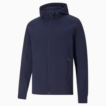 teamCUP Casuals Hooded Slim Fit Men's Football Jacket, Peacoat, small-IND