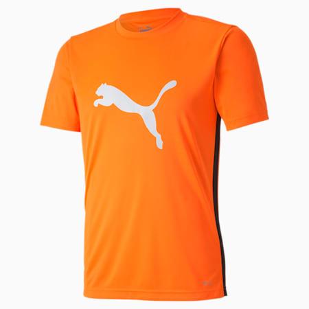 ftblPLAY Logo Men's Slim T-shirt, Shocking Orange-Puma Black, small-IND