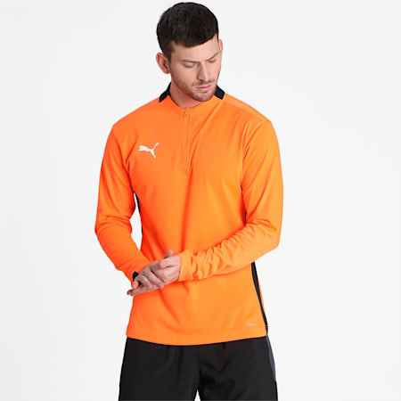 ftblPLAY Quarter Zip Men's Top, Shocking Orange-Puma Black, small-IND